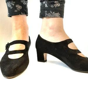 VTG Vaneli black suede strappy shoes size 10 11